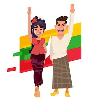 Mianmar, homem, mão, mulher, levantando mão com três dedos
