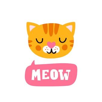 Miau. cabeça de gato e citação de mão desenhada. personagem de rosto bonito animal