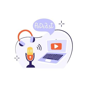 Mic, fones de ouvido, laptop e nuvem com texto. radiodifusão, hospedagem de mídia.