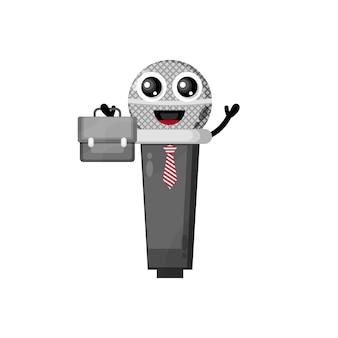Mic trabalha com um mascote de personagem fofo