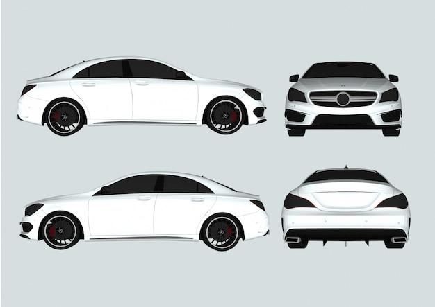Micro car branco com detalhes.