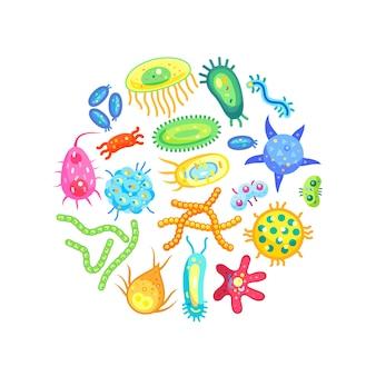 Microbes bactérias e vírus healthcare poster
