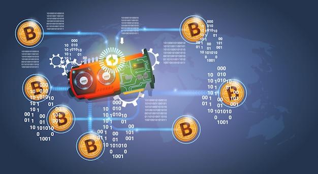 Microchip com golden bitcoins digital crypto moeda moderna web dinheiro sobre fundo azul escuro