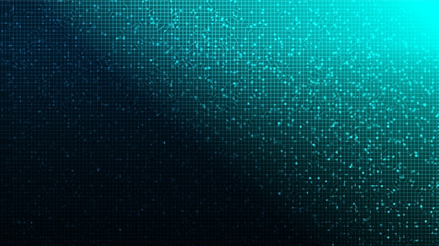 Microchip de circuito digital azul suave em fundo de tecnologia.