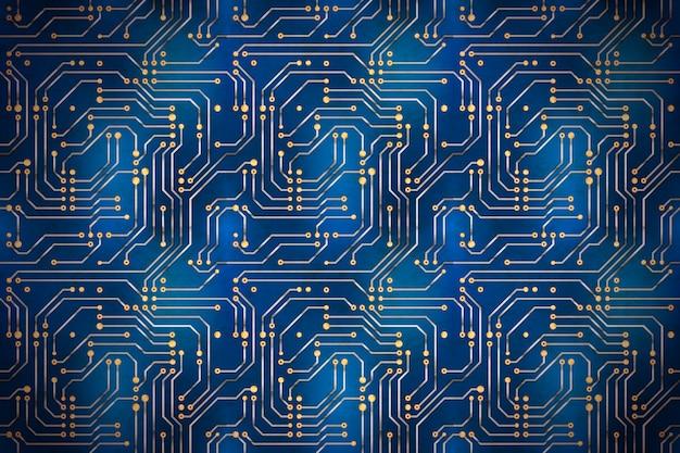 Microchip de computador complicado com contatos dourados na placa-mãe azul, fundo horizontal techno