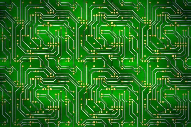 Microchip de computador complicado com contatos dourados na placa-mãe verde