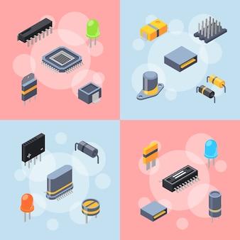 Microchips isométricos e conceito de infográfico de ícones de peças eletrônicas