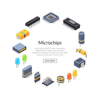 Microchips isométricos e ícones de peças eletrônicas