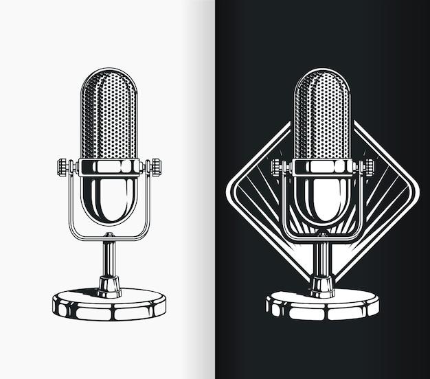 Microfone antigo de podcast de rádio de silhueta vintage