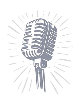 Microfone antigo vintage, poster retro. Vetor Premium