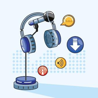 Microfone com gadgets do estúdio de áudio digital