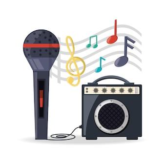 Microfone com música de alto-falante de amplificador