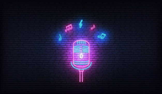 Microfone com notas musicais. modelo de néon para karaokê, música ao vivo, show de talentos.