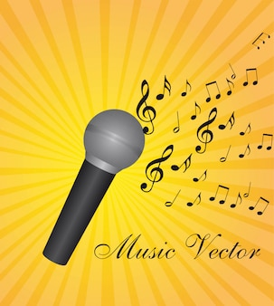 Microfone com notas musicais sobre ilustração vetorial de fundo amarelo