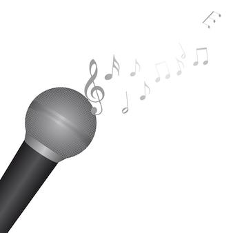 Microfone com notas musicais sobre vetor de fundo branco