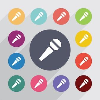 Microfone, conjunto de ícones planos. botões coloridos redondos. vetor