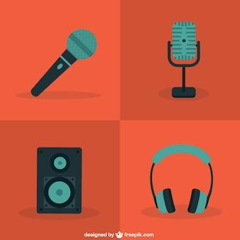 Microfone cores e ícones de áudio