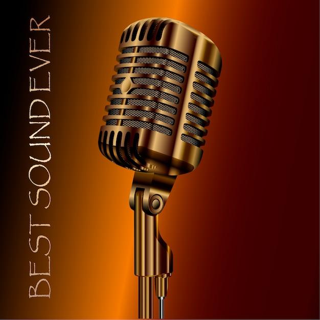 Microfone de áudio concerto vintage. karaokê, rádio