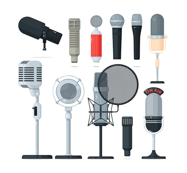 Microfone de áudio e rádio, conjunto de gravador de voz. equipamento de estúdio de som profissional moderno ou vintage para comunicação, transmissão, entrevista ou karaokê