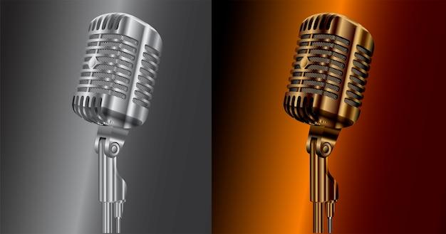 Microfone de áudio vintage. som de microfone de estúdio retrô
