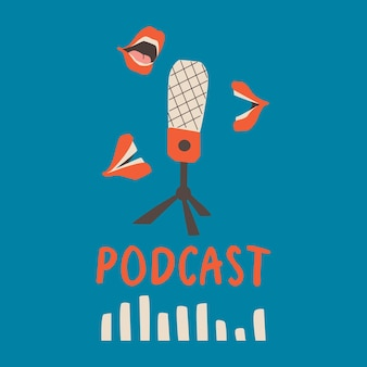 Microfone de capa de podcast e bocas falantes em um fundo azul