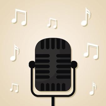 Microfone de cor preta e notas musicais