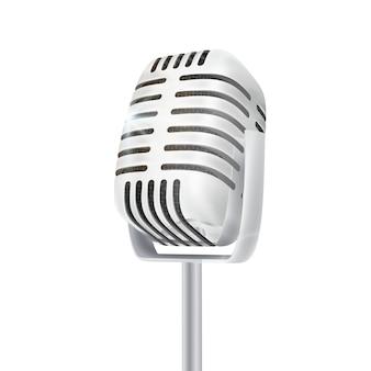 Microfone de estúdio de prata vintage.