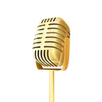 Microfone de estúdio dourado vintage.