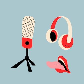 Microfone de estúdio em um fone de ouvido sem fio e boca aberta com a língua de fora