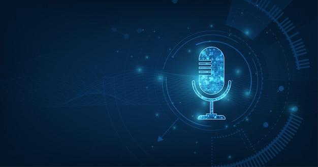Microfone de ícone abstrato vetor na onda sonora digital sobre fundo de cor azul escuro.