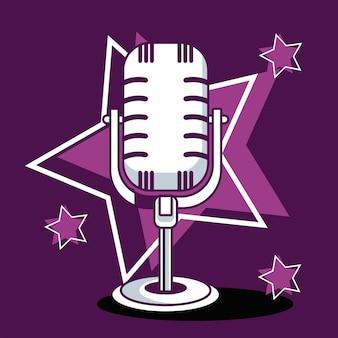 Microfone de karaokê e estrelas