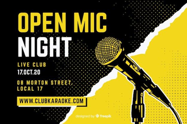 Microfone de mão desenhada de modelo de banner de karaoke