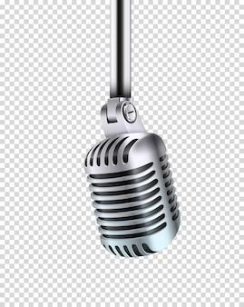 Microfone de metal brilhante