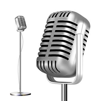 Microfone de metal retrô com suporte