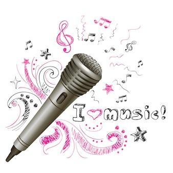Microfone de música doodle