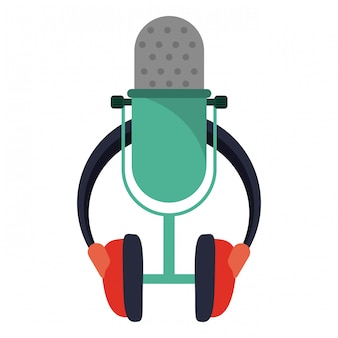 Microfone de música vintage e fones de ouvido