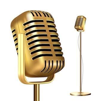 Microfone de ouro retrô com suporte