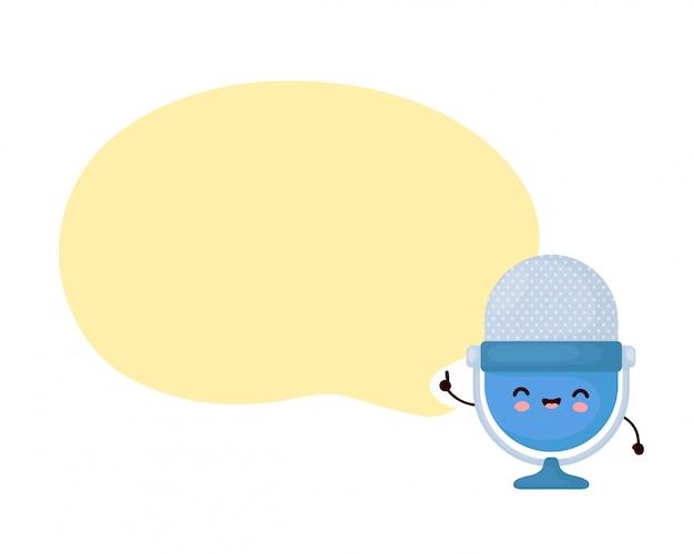 Microfone de podcast estúdio engraçado feliz bonito com bolha do discurso. desenho animado personagem ilustração ícone do design.