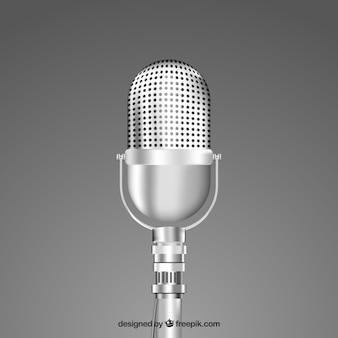 Microfone de prata vintage