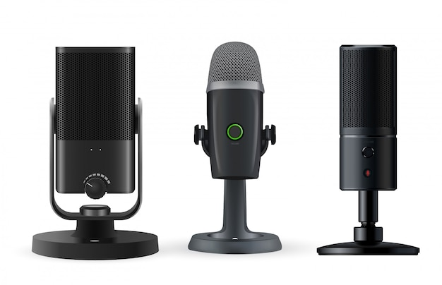 Microfone de rádio isolado no fundo branco