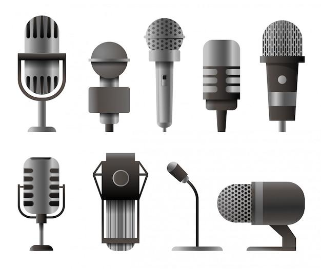 Microfone definido em estilo realista. microfones para podcast de áudio.