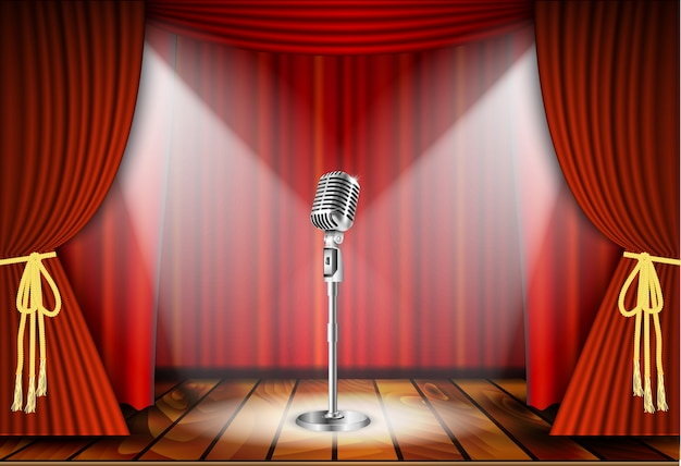 Microfone e cortina vermelha