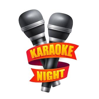Microfone e fita para design de festa à noite de karaokê.