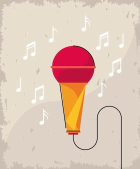 Microfone e notas