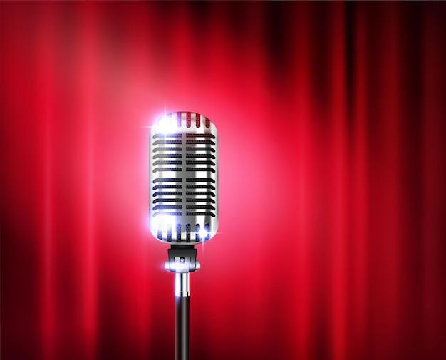 Microfone em pé mostra ilustração realista