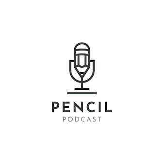 Microfone lápis microfone conferência podcast rádio design de logotipo