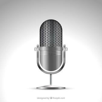 Microfone metálico em estilo realista