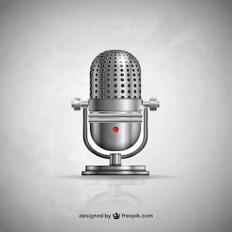 Microfone metálico no estilo retro
