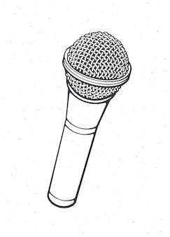 Microfone moderno para voz, música, som, fala, gravação de rádio, ilustração vetorial de contorno