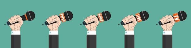 Microfone na mão. conjunto de ícones. imprensa, notícias, microfones ao vivo e tv.